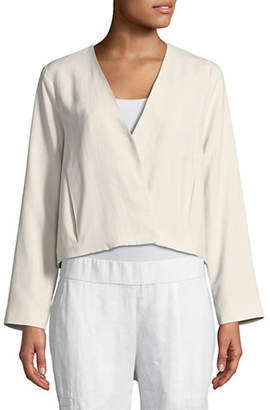 Eileen Fisher Silk Long Sleeve Cropped Jacket