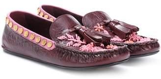 Prada Exclusive to mytheresa.com – embellished leather moccasins