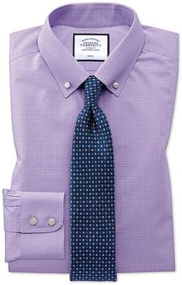 Charles Tyrwhitt Extra Slim Fit Button-Down Non-Iron Lilac Prince Of Wales Check Cotton Formal Shirt Single Cuff Size 14.5/32