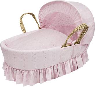 Kinder Valley Broderie Anglaise Moses Basket (White)