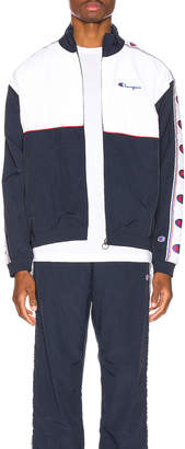 Champion Reverse Weave Full Zip Top in Navy & White & Red | FWRD