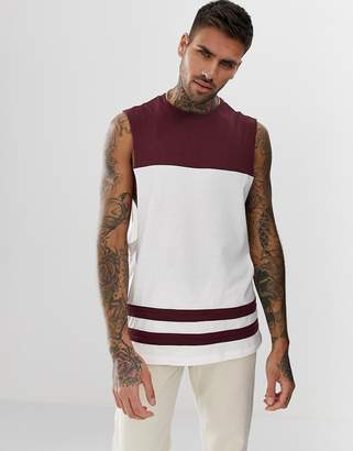 Asos Design DESIGN organic relaxed sleeveless t-shirt with dropped armhole and contrast yoke in white
