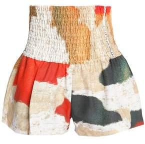 Shirred Printed Linen Shorts
