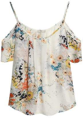 Joie Adorlee Cold-Shoulder Floral-Print Silk Crepe De Chine Top