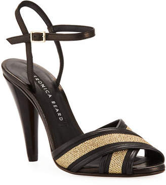 Veronica Beard Olympia Fabric/Leather Ankle-Wrap Sandals