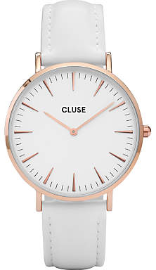 Cluse Women's La Boheme Rose Gold Leather Strap Watch, White CL18042