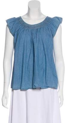 The Great Scoop Neck Chambray Blouse