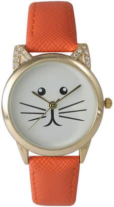 OLIVIA PRATT Olivia Pratt Womens Gold-Tone White With Black Cat Face Dial Orange Leather Strap Watch 13586L