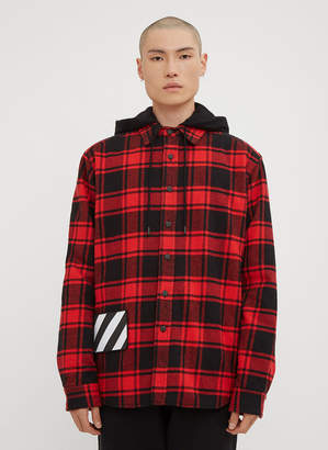 Off-White Hooded Check Print Flannel Jacket in Red