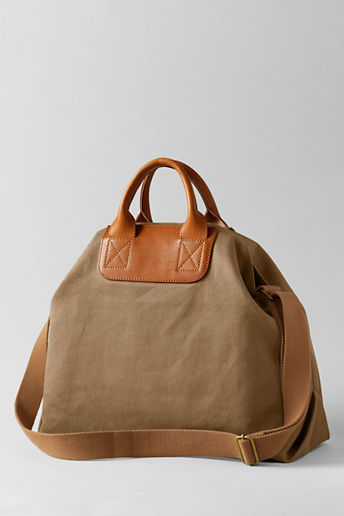 Lands' End Women's Leather Twill Canvas Tote