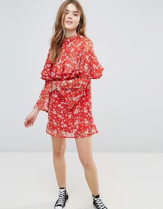 Influence Floral Dress With Ruffle Layers And Flare Sleeve