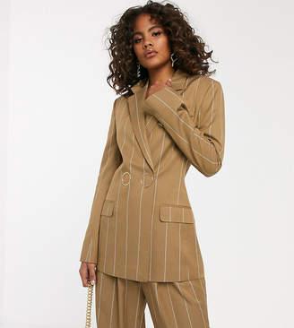 Asos Tall DESIGN Tall camel stripe suit blazer with popper fastening