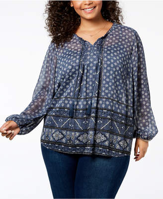 Style&Co. Style & Co Plus Size Mixed-Print Metallic Peasant Top