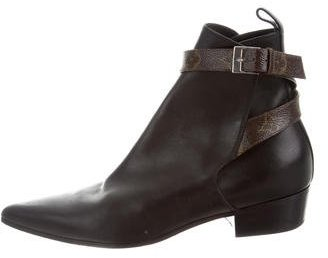 Louis Vuitton Leather Monogram-Accented Ankle Boots
