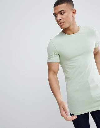 Asos Design DESIGN longline muscle fit t-shirt with crew neck in green
