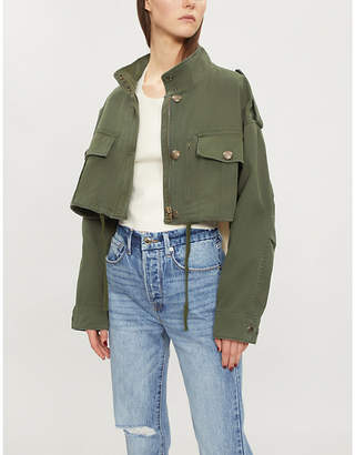 The Kooples Cropped stretch-cotton jacket