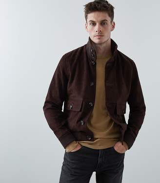 Reiss Our last order date for Christmas has now passed ESPRESSO BUTTON THROUGH SUEDE JACKET Dark Brown