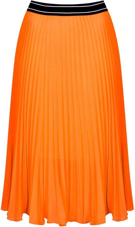 Sports waistband pleat midi skirt