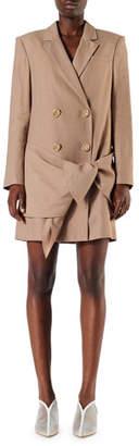 Tibi Linen-Viscose Blazer Dress with Removable Tie