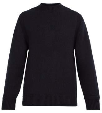 Dunhill Crew Neck Wool Blend Sweater - Mens - Dark Navy
