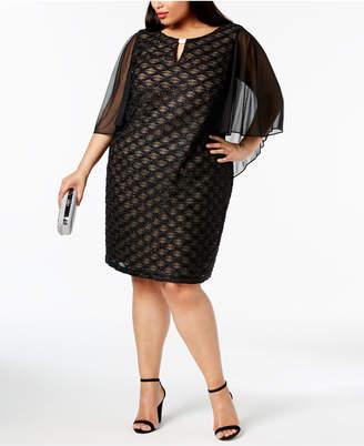 Connected Plus Size Chiffon-Cape Shift Dress
