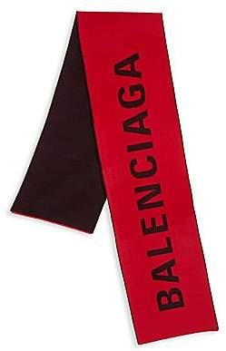 Balenciaga Men's Logo Jacquard Wool Knit Scarf