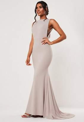 Missguided Tall Bridesmaid Gray Sleeveless Low Back Maxi Dress