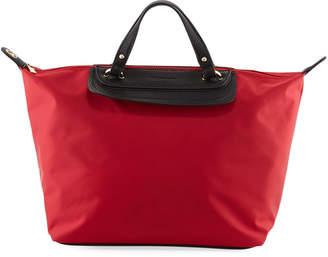 Neiman Marcus Bennett Faux-Leather Trimmed Satchel Bag