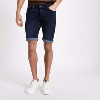 River Island Dark blue skinny fit denim shorts