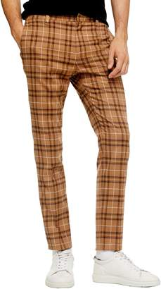 Topman Penny Check Print Slim Trousers