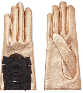 Gucci Bow-embellished Metallic Textured-leather Gloves