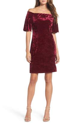 Eliza J Off the Shoulder Velvet Dress