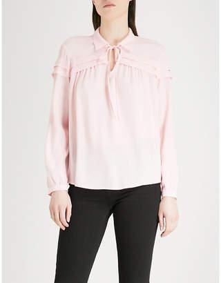 Maje Tie-neck crepe blouse
