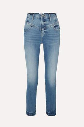 Frame Retro V Yoke High-rise Straight-leg Jeans - Mid denim