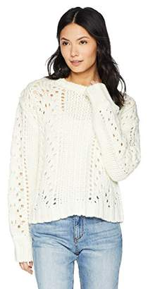 Blend of America Cable Stitch Women's Chunky Wool Pointelle Sweater
