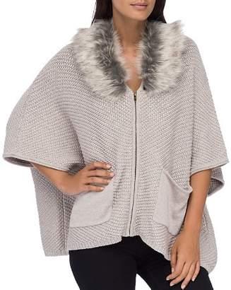 Bobeau B Collection by Carlie Faux-Fur Collar Zip Cardigan