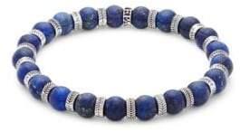 Lapis Stainless Steel & Blue Beaded Bracelet