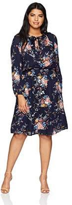 Lucky Brand Women's Size Plus Drop Waist Printed Dress