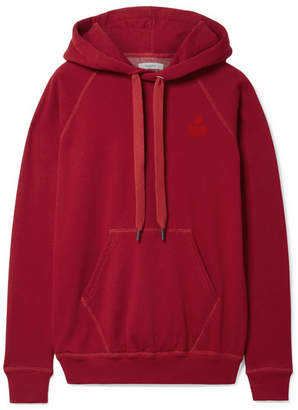 Etoile Isabel Marant Malibu Flocked Cotton-blend Jersey Hoodie - Red