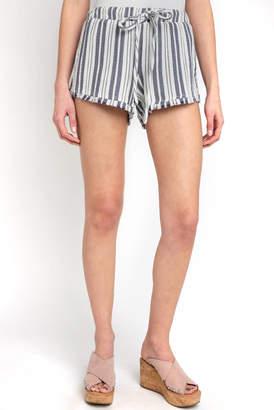Cloth & Stone Stripe Gauze Fray Hem Short