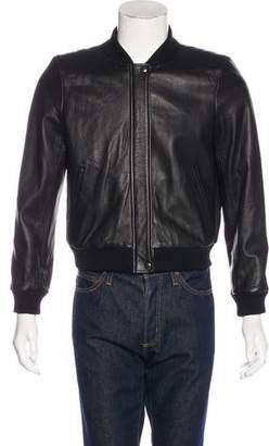 DKNY Leather Bomber Jacket