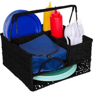 Trademark Innovations Rattan Tabletop Serveware and Condiment Organizer and Caddy, Black