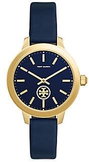 Tory Burch Women's Collins Goldtone Stainless Steel & Leather Strap Watch