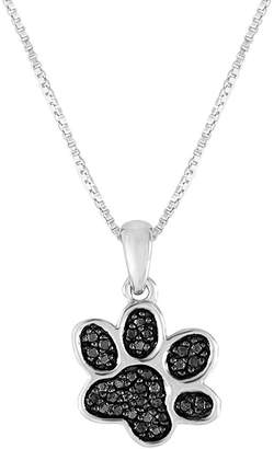 Black Diamond FINE JEWELRY 1/10 CT. T.W. Color-Enhanced Sterling Silver Paw Pendant Necklace
