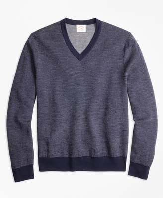 Brooks Brothers Bird's-Eye Merino Wool Jacquard V-Neck Sweater