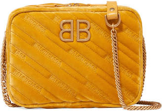 Balenciaga Bb Reporter Embroidered Velvet Shoulder Bag - Yellow