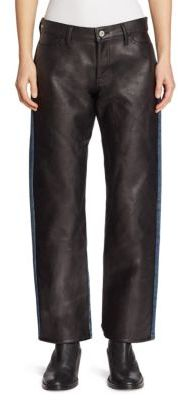 Junya Watanabe Faux Leather Front Jeans $955 thestylecure.com