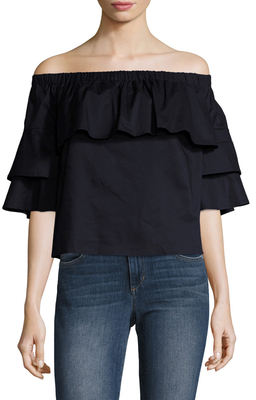 Cotton Poplin Off Shoulder Ruffle Top $80 thestylecure.com