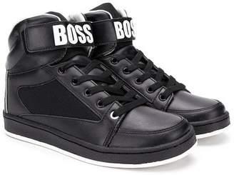 HUGO BOSS TEEN logo high top sneakers