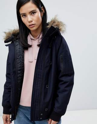Fred Perry Short parka jacket with Faux Fur Hood